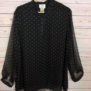 ICE Flowy Blouse With Semi Sheer Sleeves Size 20